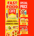 cafe menu with fast food meals and drink vector image vector image