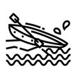 canoe line icon vector image vector image
