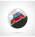 Car on a slope round flat color icon vector image vector image