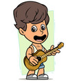 cartoon boy character with wooden acoustic guitar vector image vector image