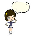 cartoon pretty maid with speech bubble vector image