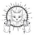 cat face praying hands holding a rosary vector image vector image