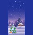 christmas landscape vertical vector image vector image