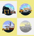 coal mining industry set flat vector image