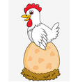 Cute Hen with giant egg vector image vector image