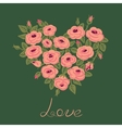Cute vintage roses arranged in a heart shape vector image vector image