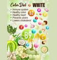 detox color diet white fruits vegetables vitamins vector image vector image