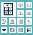 education icons set with notebook essay writing vector image