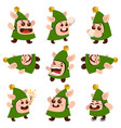 elf cartoon character set vector image vector image