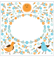 Frame with birds and flowers vector image vector image
