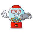 gamer gumball machine mascot cartoon vector image vector image