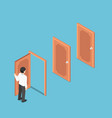 isometric businessman opening door and facing vector image vector image