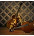 jazz musical instruments on a wooden background vector image vector image