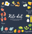 ketogenic diet food low carb high healthy fats vector image vector image
