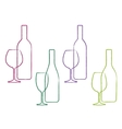 Linear wine set of bottle and glass