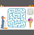 maze leisure game with penguin vector image vector image