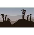 Meerkat silhouette in the hills vector image
