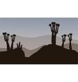 Meerkat silhouette in the hills vector image