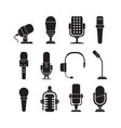 microphone icons music singer items conference vector image vector image