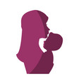 mom with baby silhouette vector image vector image