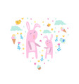 pink bunnies with clouds flowers and ice creams vector image