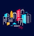 real estate and construction industry at night vector image