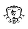 sea fishing emblem template with marlin design vector image vector image