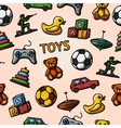 Seamless toys handdrawn pattern with - car duck vector image vector image