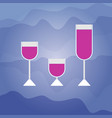 set of full wine glasses for alcohol drinks vector image