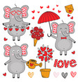 set of isolated elephant in love part 2 vector image vector image