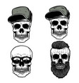 set of skull in baseball caps design element for vector image vector image