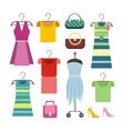 Set of Women Clothes Items Editable Elements vector image
