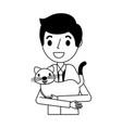 smiling man holding pet cat vector image