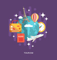 Tourism Concept Flat Style Globe with Travel Flat vector image vector image