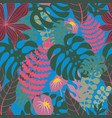 tropical plants on a blue background seamless vector image