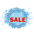 winter sale - banner with text on blue wreath vector image vector image