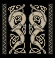 wolfs in celtic style and celtic pattern vector image vector image