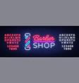 logo neon sign barber shop for your design vector image