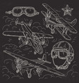 set icons retro old aircraft pilot helmet and vector image