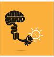Brain icon and light bulb symbol vector image