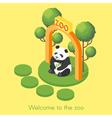 isometric of panda vector image