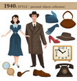 1940 fashion style man and woman personal objects vector image vector image