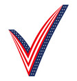 3d check mark stylized as usa flag icon elections vector image