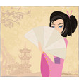 abstract landscape with asian girl vector image vector image