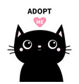 adopt me black cat head face with big eyes cute vector image vector image