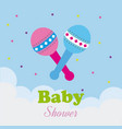 baby shower design over cloudscape background vector image vector image