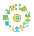 bitcoin round banner in colored line style vector image vector image