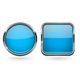 blue buttons set of round and square shiny 3d vector image vector image