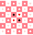 Card Suits Pink White Chess Board Background vector image vector image