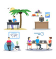 cartoon group of distant work characters people vector image vector image